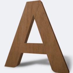 letras corpóreas madera